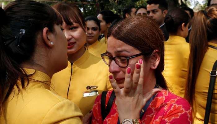 Jet Airways employees protest at Jantar Mantar