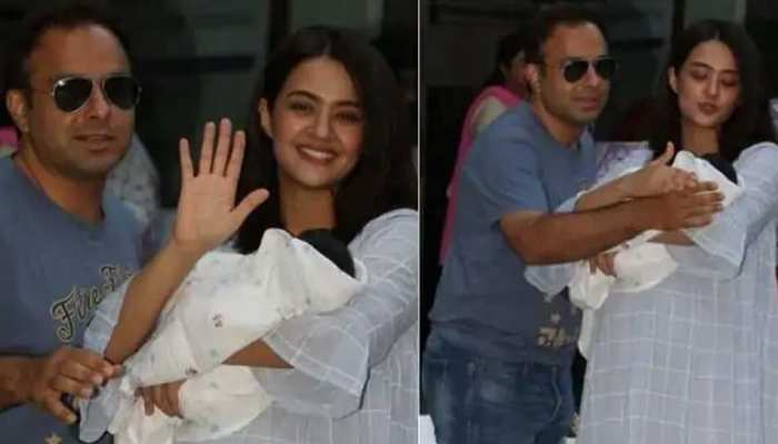 surveen chawla discharged from hinduja hospital mumbai took her baby girl eva to the home