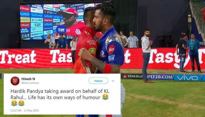 IPL 2019: जब पांड्या का अवॉर्ड केएल राहुल ने लिया, तो मजे लेने में पीछे नहीं रहे ट्विटर यूजर्स
