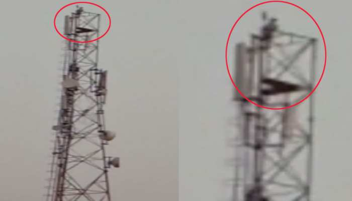 VIDEO: मोबाइल फोन टावर पर चढ़ गया शराबी और चिल्लाने लगा 'मोदी को बुलाओ'