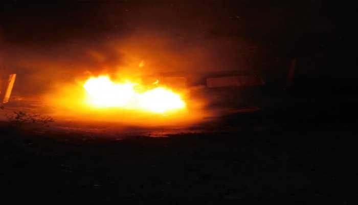 जयपुर: खड़ी स्कॉर्पियो में अचानक लगी आग, टला बड़ा हादसा
