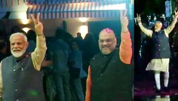 PM Modi's grand welcome in BJP headquarters, see photos