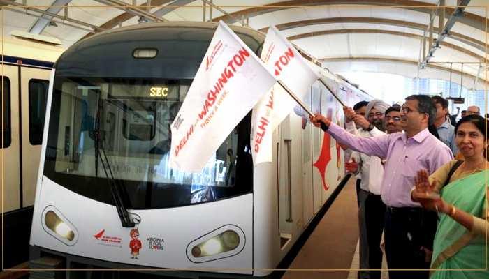 एयर इंडिया मय हुई गुरुग्राम की रैपिड मेट्रो, ट्रेन में दिखेंगे वाशिंगटन के कई रंग