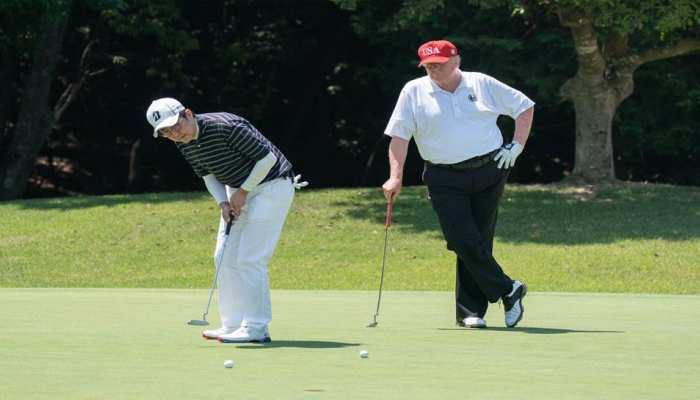 डोनाल्ड ट्रंप ने जापान के पीएम से की मुलाकात, साथ में खेला गोल्फ और की पहली बातचीत