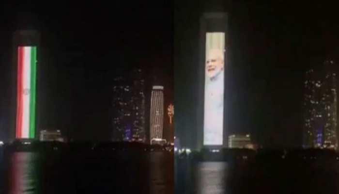 VIDEO: इस देश ने 65 मंजिला इमारत पर लगाई PM मोदी, तिरंगे की तस्वीर, मनाया शपथ ग्रहण का जश्न