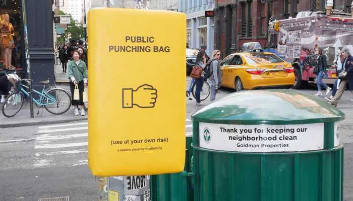 Punching bag designed to deal with stress on the streets of New York