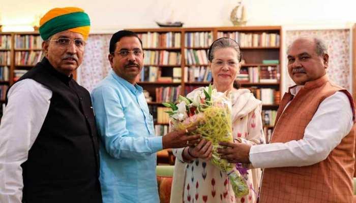 बीजेपी के 3 बडे़ मंत्री अचानक सोनिया गांधी से मिलने पहुंचे, जानिए क्या है वजह
