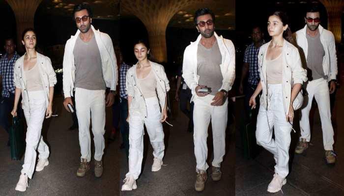 Alia Bhatt Ranbir Kapoor Spotted at airport in white colour-coordination