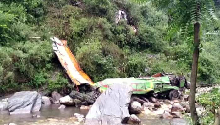 bus collapses in a valley after an accident in Kullu on Thursday, 44 died