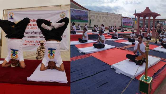International yoga day 2019 : ITBP jawans yoga in 10 degree temperature in Leh