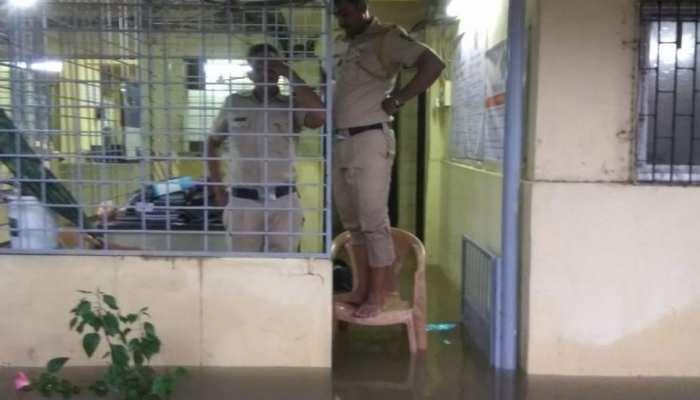 Water logging inside Vakola police station Mumbai heavy rainfall in city