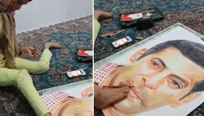दिव्यांग फैन ने पैरों से बना डाला सलमान खान का पोट्रेट, 'भाईजान' ने शेयर किया VIDEO
