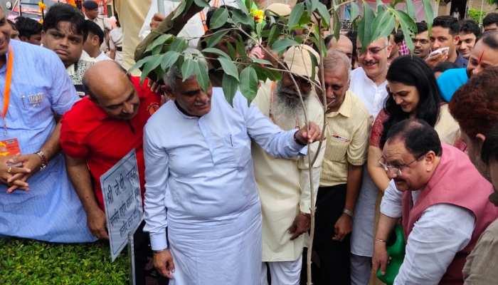 रोहतकः जेपी नड्डा ने पौधे लगाकर दिया 'ग्रीन इंडिया' का संदेश, स्वच्छता अभियान के तहत लोगों में बांटे डस्टबिन