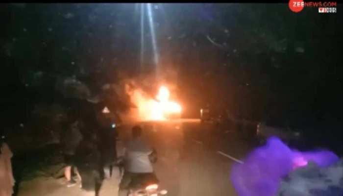 VIDEO: मनाली में पार्किंग में खड़ी थी बस, अचानक धूं-धूं कर जलने लगी