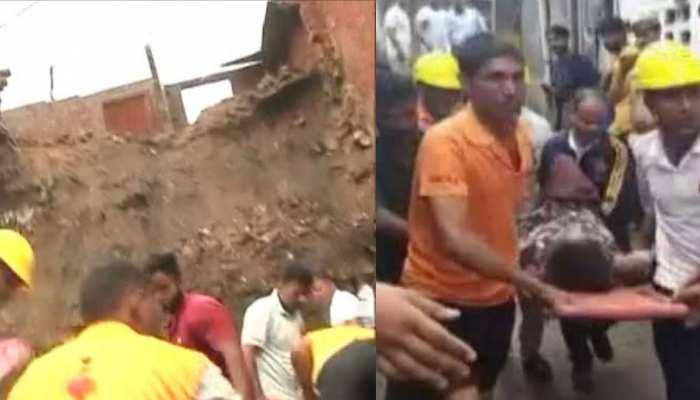राजस्थान: मूसलाधार बारिश के बाद एक घर गिरा, 4 लोग दबे