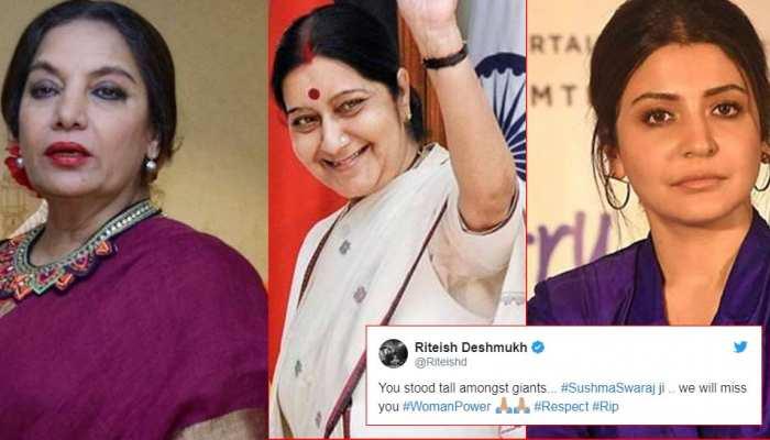 सुषमा स्वराज के निधन से सदमे में बॉलीवुड, Twitter पर सेलेब्स दे रहे BJP नेता को श्रद्धांजलि