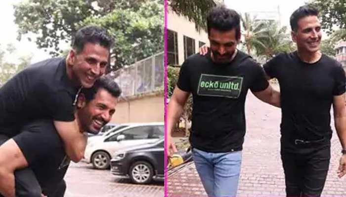 Desi Boys Akshay Kumar and John Abraham come together to promote their movies
