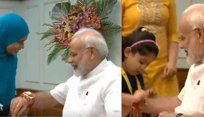 बच्चियों से लेकर मुस्लिम महिलाओं तक ने बांधी PM मोदी को राखी, देखें VIDEO
