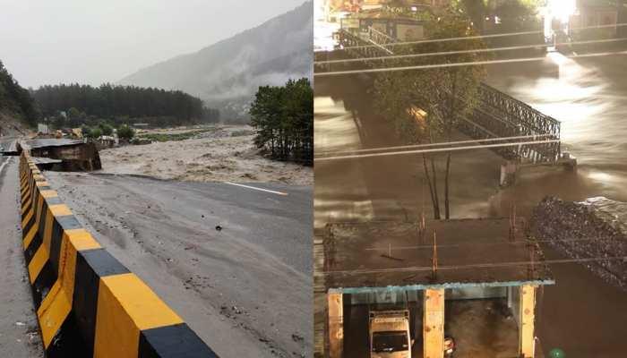 हिमाचल में बारिश का कहर, NH-3 सहित 323 सड़कें बंद, कुल्लू में वैली ब्रिज क्षतिग्रस्त