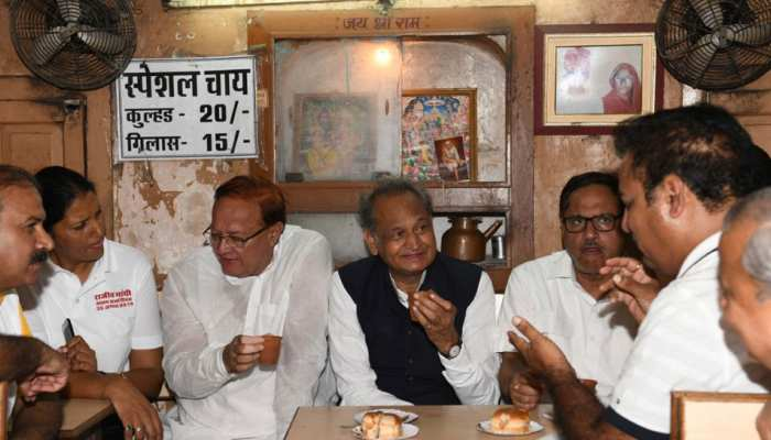 rajasthan: cm ashok gehlot talked to minister at sahu restaurant, see pics