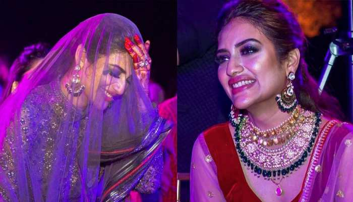 Nusrat Jahan and hubby Nikhil Jain from their sangeet ceremony trending now