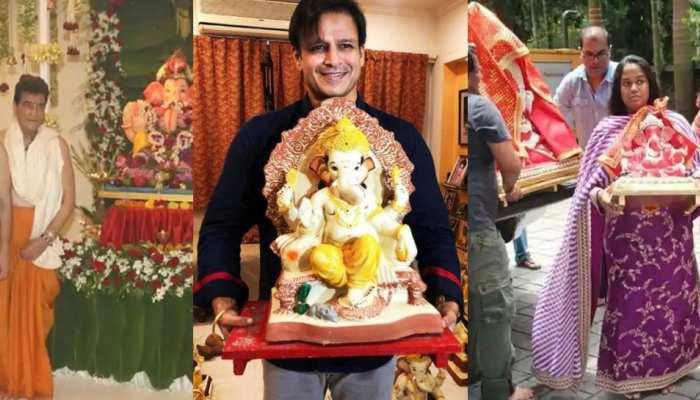 Vivek Oberoi Suresh Oberoi Jitendra arpita sonali bendre on Ganesh Chaturthi