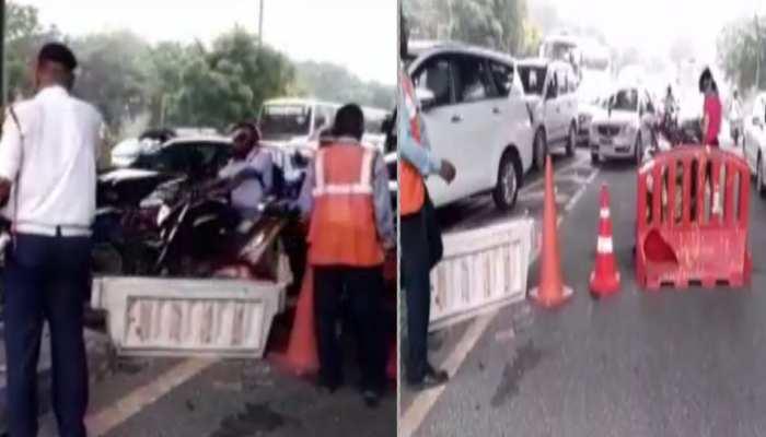 बारापुला फ्लाईओवर पर पलटा ट्रक, DND, सराय काले खां, लोधी रोड पर लगा भयंकर जाम