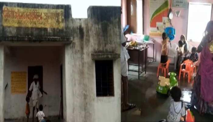 राजसमंद के इस आंगनबाड़ी केंद्र में बच्चे टपकती छत के नीचे बैठने को मजबूर, प्रशासन बेखबर