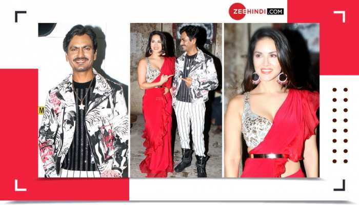 PICS: Sunny Leone Seen with Nawazuddin in red sari