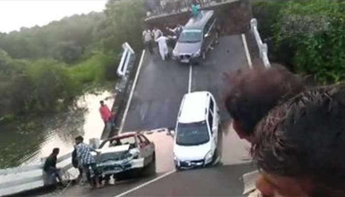 VIDEO: जूनागढ़ के पास अचानक टूटा पुल, नदी में कुछ ऐसे लटक गई कारें