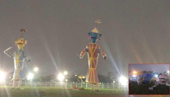 पटना: रावण वध के कार्यक्रम से पहले ही पुतला भरभरा कर गिरा, मचा हड़कंप