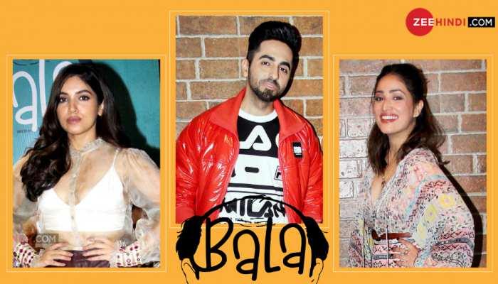 ayushmann khurrana, bhumi pednekar and yami gautam promotion movie BALA