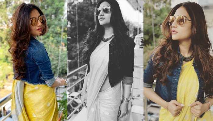 Nusrat Jahan shared picture in saree with denim jacket on instagram