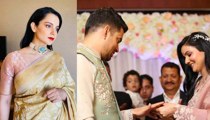 Kangana Ranaut wore Banarasi sari for brother's engagement, see photos of Ceremony