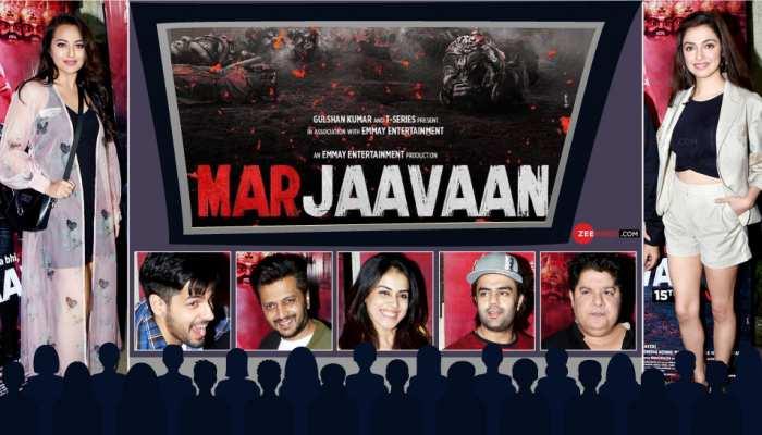 Riteish Deshmukh and Genelia D'souza etc screening of movie Marjaavaan