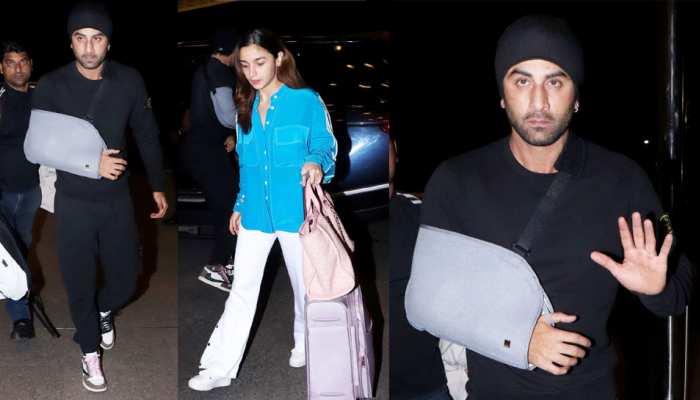Ranbir Kapoor broke his arm airport alia bhatt see pics