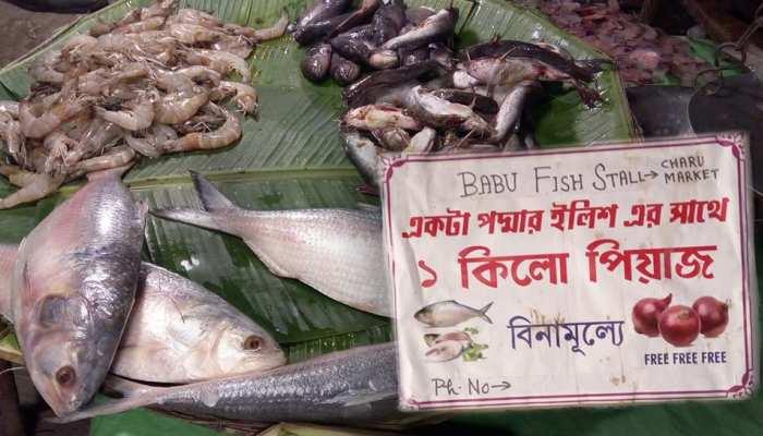 कोलकाता के लोगो को मिला स्पेशल ऑफर, हिलसा मछली खरीदने पर मिलेगा 1 किलो प्याज मुफ्त