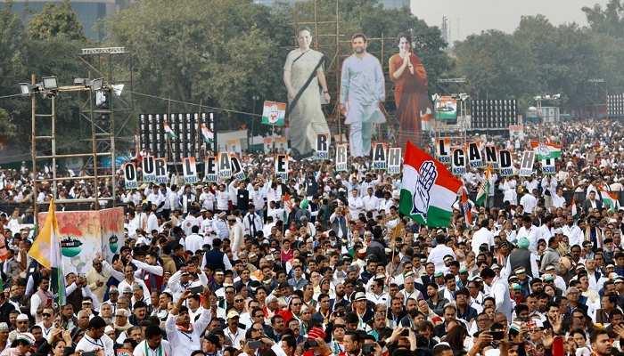 खोई सियासी जमीन पाने की उम्मीद में कांग्रेस ने की भारत बचाओ रैली