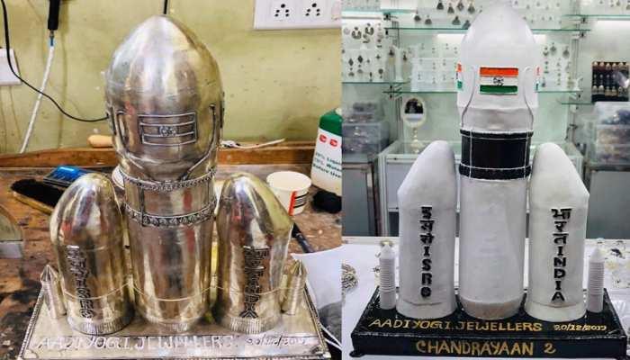जयपुर: युवा ज्वैलर ने ISRO को दी अनोखी सलामी, बनाया चांदी का 'चंद्रयान-2'