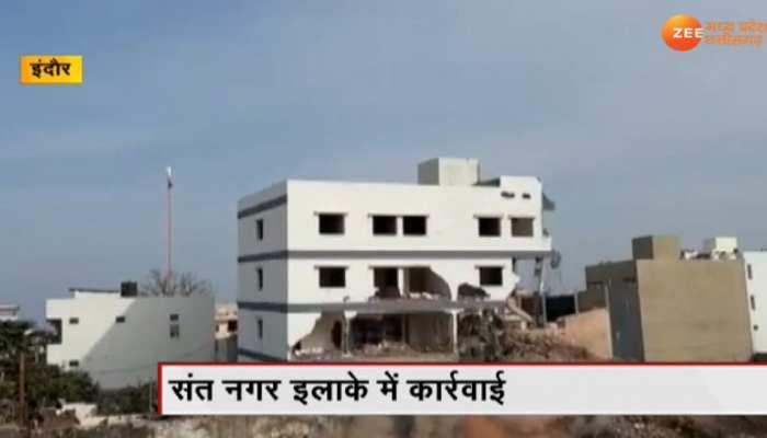 इंदौर: भूमाफियाओं और गुंडों के अवैध ठिकानों पर कार्रवाई, हिस्ट्रीशीटर के घर, दुकान को ढहाया