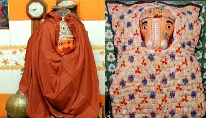 कोटा में कड़ाके की सर्दी से बेहाल हुए भगवान, भक्तों ने पहनाए गर्म कपड़े