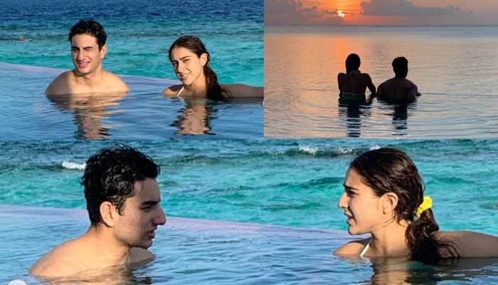 actress sara ali khan enjoying her vacation away from home in maldives infinity poo