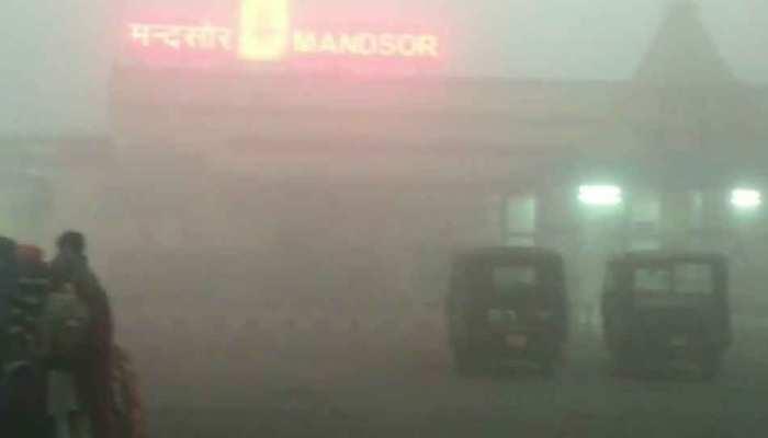 MP: मंदसौर में जारी है सर्दी का सितम, कोहरे से विजिबिलिटी हुई जीरो