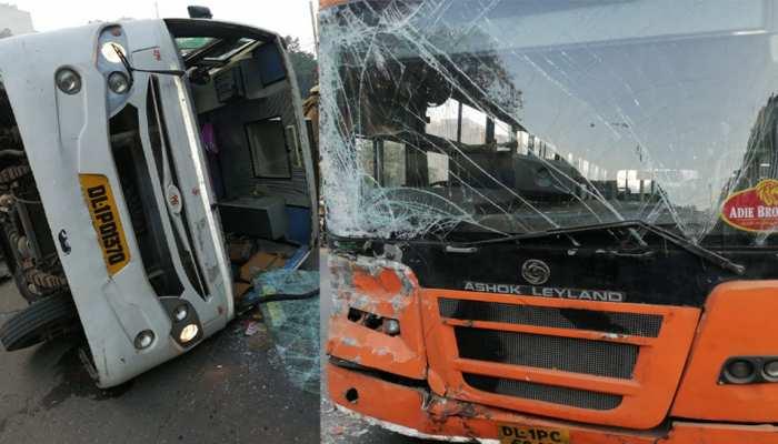 दिल्ली: स्कूल बस से टकराई डीटीसी की क्लस्टर बस, 6 बच्चे घायल