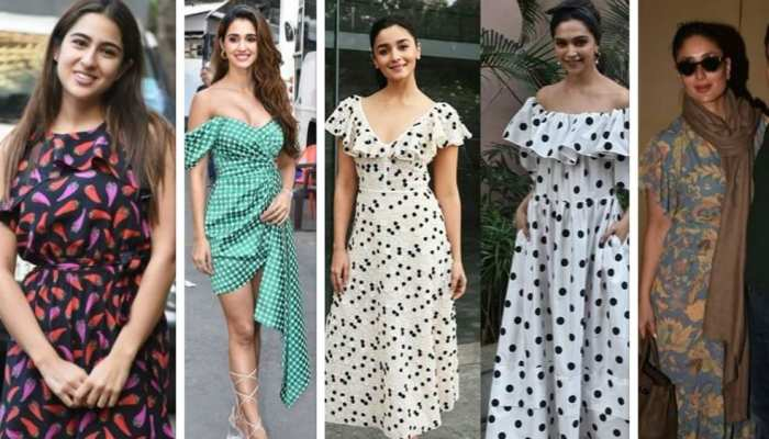 printed and polka dresses in trend among Bollywood actresses