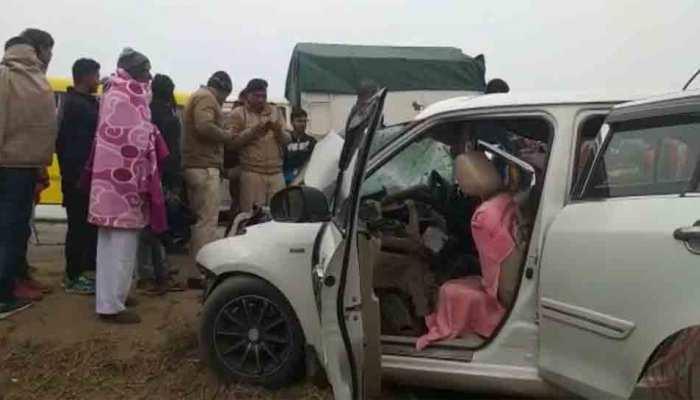 पूजा के लिए जा रहे थे मंदिर, रास्ते में बस से टकराई कार, महंत समेत 4 लोगों की मौत