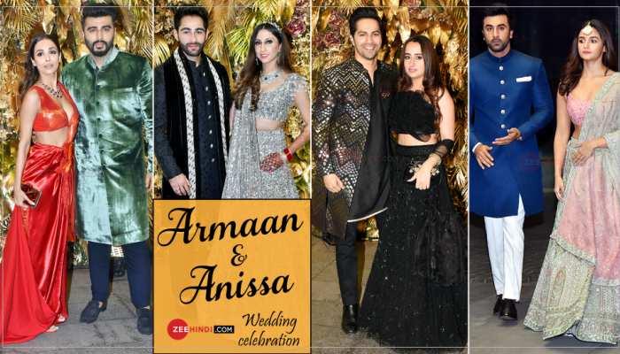 Arjun Malaika Alia Ranbir And many Couple in Armaan Jain And Anissa Malhotra Grand Wedding Reception