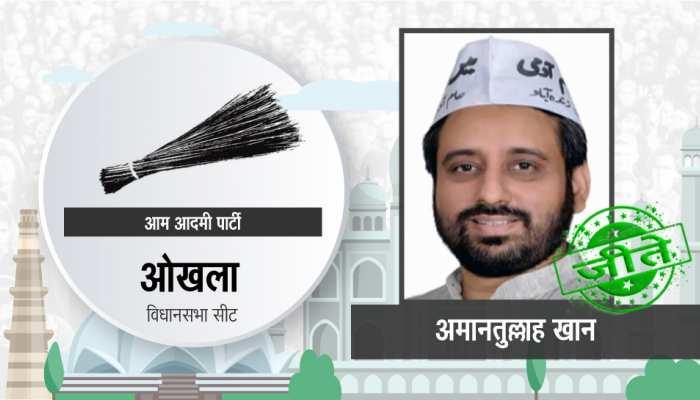 ओखला सीट से आप के अमानतुल्लाह खान दिल्ली में दूसरे नंबर पर सबसे ज्यादा वोटों से जीते