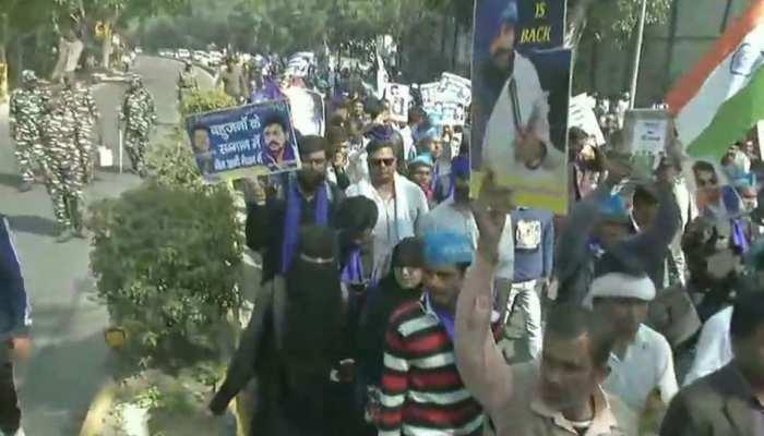 भीम आर्मी का मंडी हाउस से संसद तक 'आरक्षण बचाओ' मार्च, समर्थकों की भारी भीड़