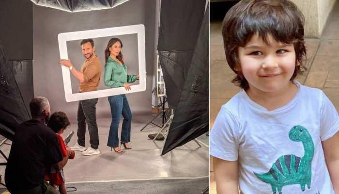 फोटोशूट में बिजी थे सैफ-करीना, तभी नन्हें तैमूर ने शुरू कर दी 'फायरिंग'- See VIDEO